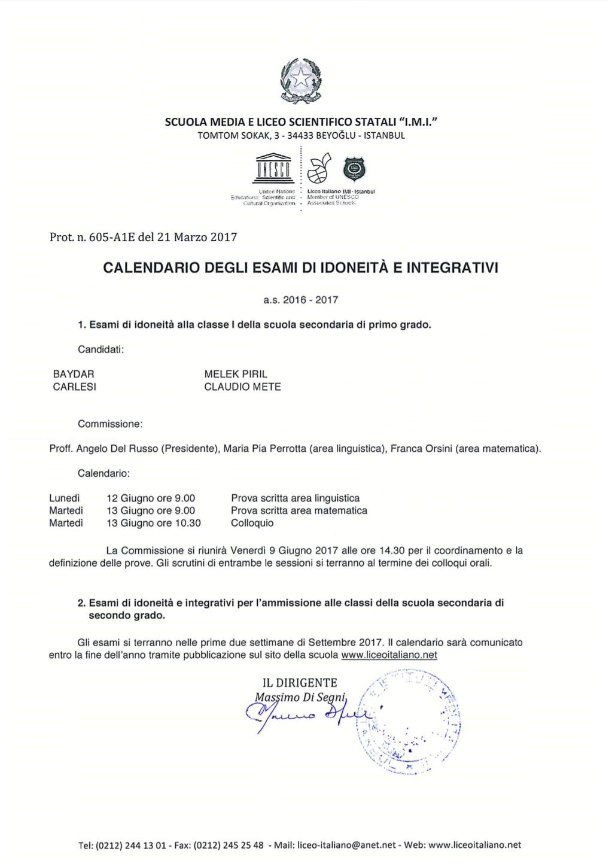 Calendario Esami.Calendario Esami 2017 Liceo Italiano Imi